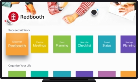Redbooth for Apple TV enables groups to organize their work and manage projects in a streamlined app equally at home in the living room or board room (Photo: Business Wire)