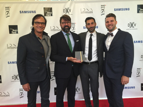 The core team responsible for the environment design of Dolby's new headquarters celebrates receiving a gold IDEA award from the Industrial Designer's Society of America in Detroit on August 17, 2016. From L to R - VP, Executive Creative Director, Vince Voron; Head of Visual Experience Design Kevin Byrd; Head of Product Experience Design Peter Michaelian and Senior Industrial Designer Grayson Byrd. (Photo: Business Wire)