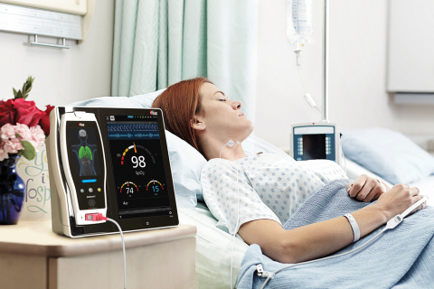 Masimo Root with rainbow Acoustic Monitoring (RAM) of Respiration Rate (RRa) with RAS-45 Sensor (Photo: Business Wire)
