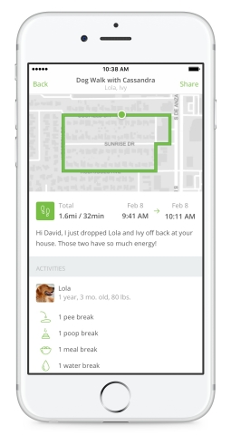 Rover Cards allow pet sitters and dog walkers to easily track and share information with owners, including when they arrived at the home, a GPS map of the dog's walk, a personal message from the sitter, photos of the dog while in their care, and notes of any bathroom breaks along the way. (Photo: Business Wire)