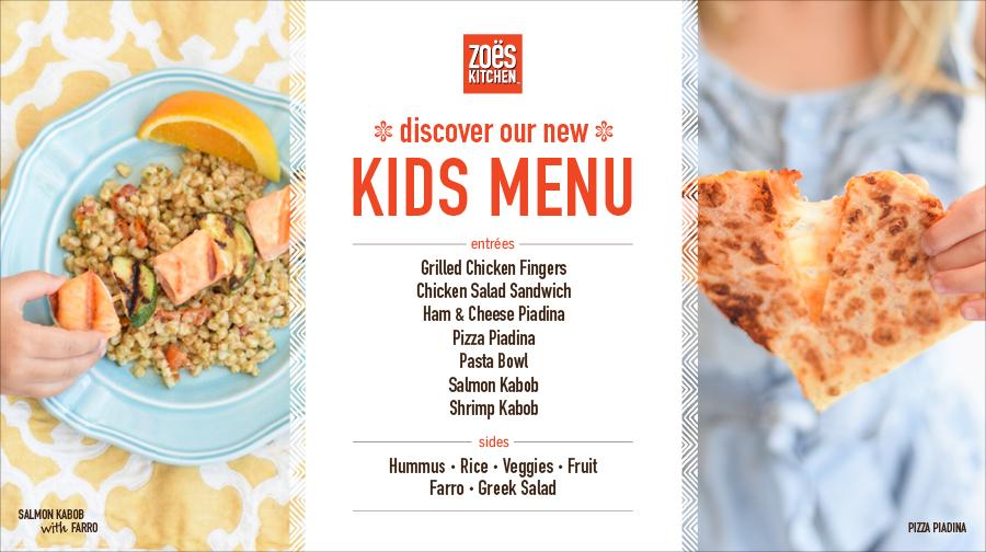 Zoës Kitchen Appeals To Generation Z With Adventurous New Kids Menu |  Business Wire