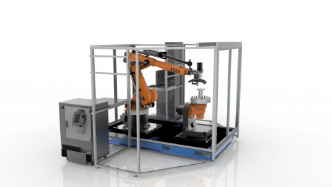 The Stratasys Robotic Composite 3D Demonstrator unveils a hybrid approach for automated composite part production that breaks the print-by-layer mindset and enables the full value of additive manufacturing to be applied to high value composite structures making them lighter than ever before. (Photo: Business Wire)