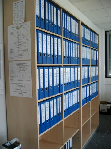 Shelves containing the full set of studies submitted for the glyphosate renewal. Seventy-one proprietary studies are available in the reading room. (Photo: Glyphosate Task Force)