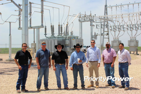 Members of the Endeavor Energy Resources and Priority Power Management team at the new Endeavor Bryant Ranch EHV Substation serving oil and gas production in the Midland Basin. (Photo: Business Wire)