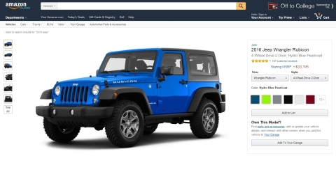 With Amazon Vehicles, customers can now view specifications, images, videos, and customer reviews for thousands of new and classic car models on Amazon.com, including the 2016 Jeep Wrangler. (Photo: Business Wire)
