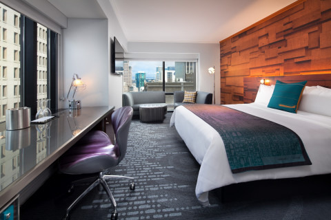 A newly renovated guestroom at W Seattle, with design nods to the outdoors and the city's storied av ...