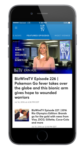 BizWireTV launches a series of apps that can be downloaded through the Apple TV and iPhone App Store and Google Play for Android devices (Photo: Business Wire)