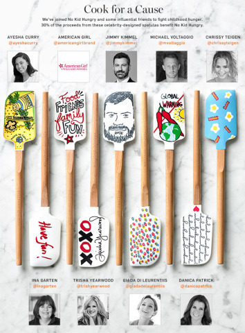 "Williams-Sonoma's ""Tools for Change"" collection benefiting No Kid Hungry is now available for purchase. Limited-edition spatulas designed by Ayesha Curry, American Girl brand, Jimmy Kimmel, Michael Voltaggio, Chrissy Teigen, Ina Garten, Trisha Yearwood, Giada De Laurentiis and Danica Patrick. (Graphic: Business Wire)"