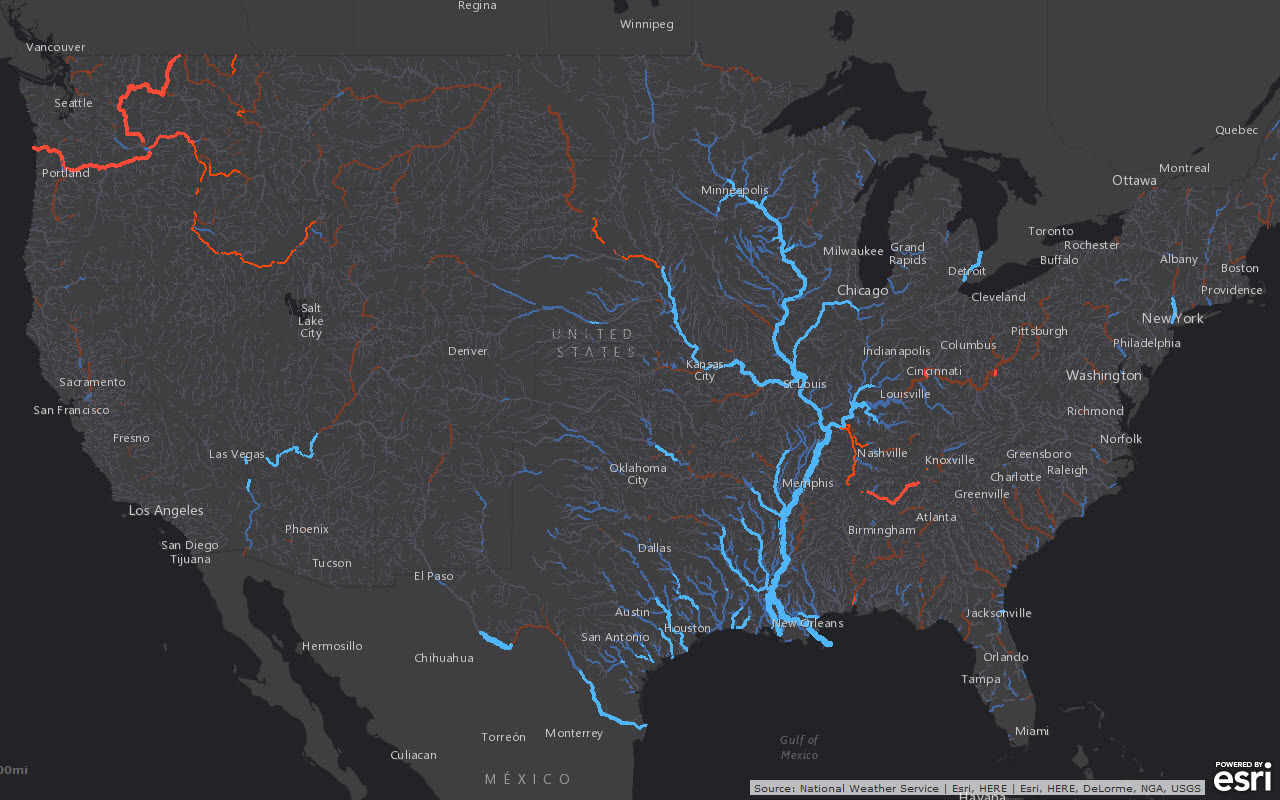 Smart mapping leader Esri today released a robust collection of web maps that display NOAA forecast streamflow data for the continental United States. (Photo: Business Wire)