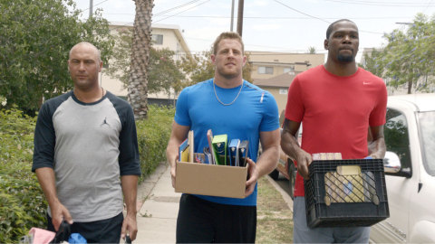 American Family Insurance brand ambassadors (L to R) Derek Jeter, J.J. Watt and Kevin Durant support and champion dreams in new advertising campaign. (Photo: Business Wire)