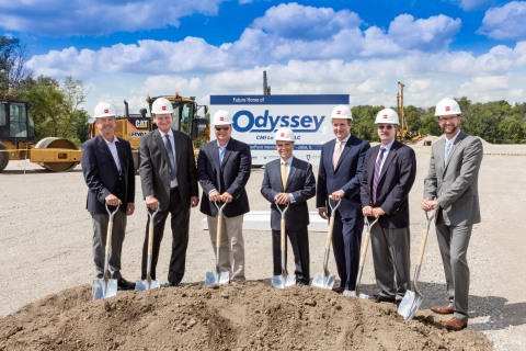 Odyssey Logistics & Technology Corporation (Odyssey) today broke ground on the construction of a new 121,680-square-foot metals trans-load facility in Joliet, Illinois on Aug. 23. Odyssey's subsidiary CMI Logistics LLC (CMI) will operate the facility. Joining the ceremony from left to right are Patrick K. Kinne, general director, International Marketing, BNSF Railway Company, Rick Rudie, president, Odyssey subsidiary Interdom LLC and head of CMI Logistics LLC, Paul Sever, executive vice president & general manager, CMI Logistics LLC, Cosmo Alberico, chief operating officer and chief financial officer, Odyssey, Jeremy Grey, vice president, Infrastructure & Logistics Development, CenterPoint Properties, Bob Shellman, president & chief executive officer, Odyssey, Alan Bouchier-Hayes, senior financial analyst, CenterPoint Properties. (Photo: Business Wire)