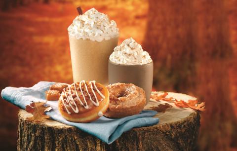 Fall Flavors: Pumpkin Spice Cake Doughnut, Salted Caramel Latte Doughnut and Pumpkin Spice Latte. (P ...