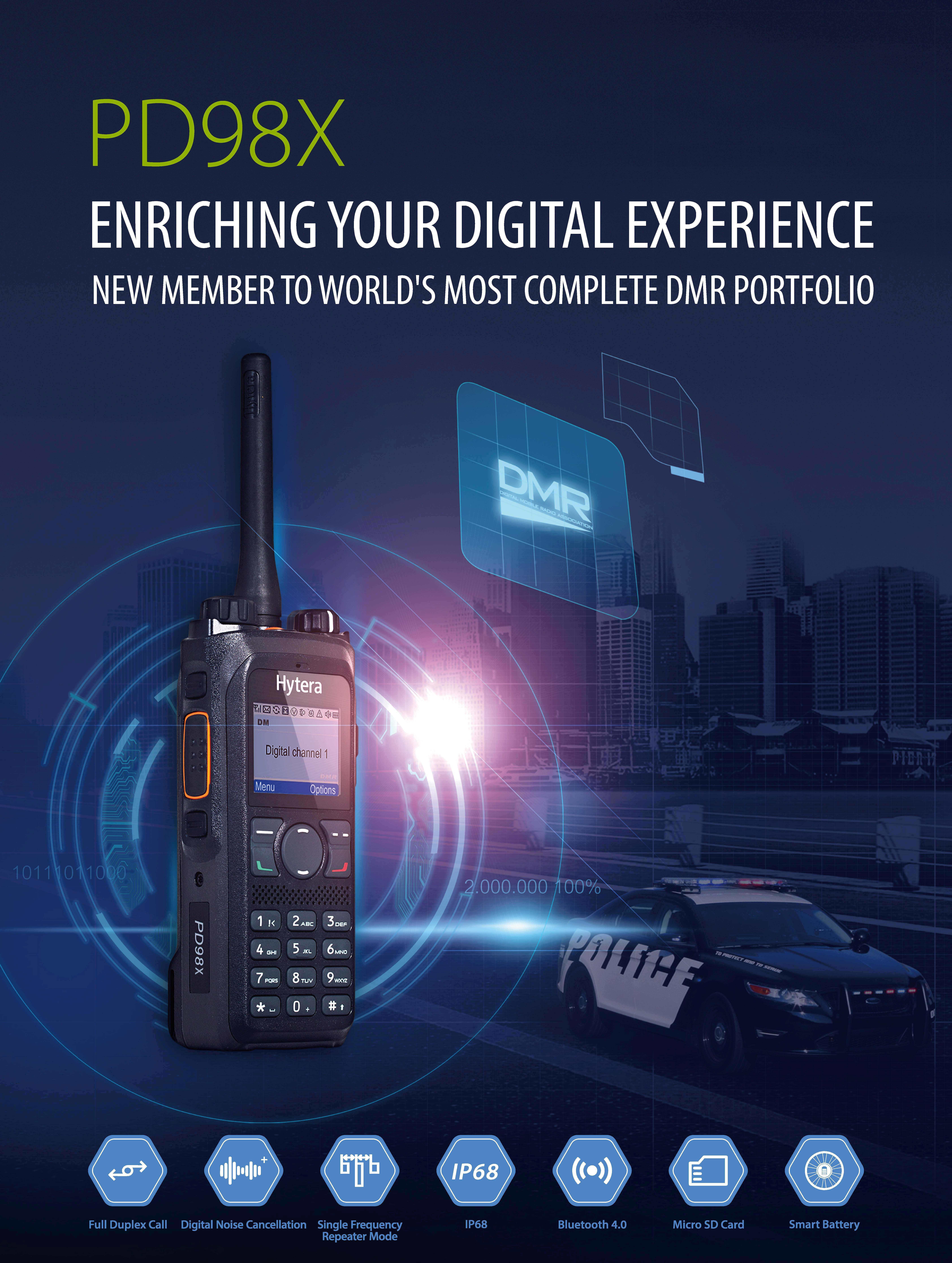 Hytera Launches Latest DMR Handheld Radio PD98X   Business Wire on