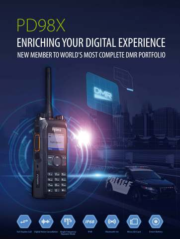 Hytera Launches Latest DMR Handheld Radio PD98X (Photo: Business Wire)