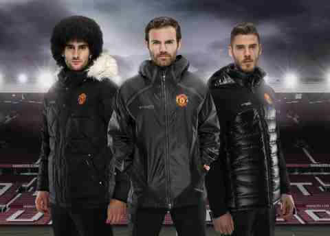 Manchester United players wearing jackets from the Columbia Collection, from left to right are Marou ...
