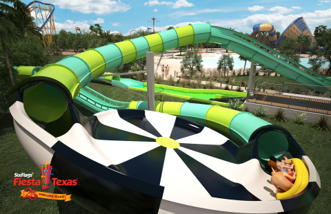 A state-of-the-art water attraction, Thunder Rapids water coaster at Six Flags Fiesta Texas will feature custom-designed inline rafts and water propulsion jets for lightning fast uphill speeds and adrenaline-pumping drops. (Photo: Business Wire)