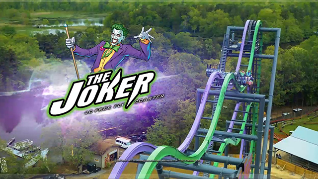 "The Joker: 4D Free Fly Coaster launching in 2017 at Six Flags New England. After being lifted straight up a 120-foot hill, this 4D Wing Coaster challenges riders to ""face their fears"" as they flip head-over-heels from four to eight times along the weightless, tumbling journey. Along the way on this 4th dimension free-fly coaster, thrill seekers experience exhilarating coaster hills and unexpected drops along with an interactive ride experience, making it a different sensation each time guests ride. The Joker: 4D Free Fly Coaster allows adrenaline seekers to soar outside the confines of the track for an all-new coaster riding experience."
