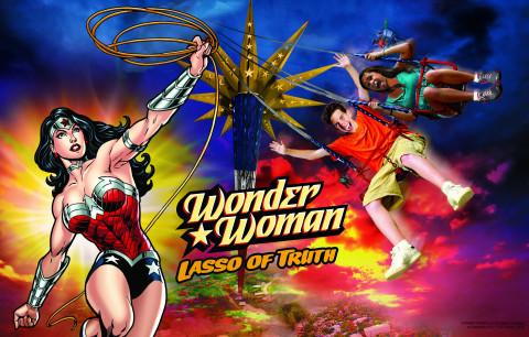 WONDER WOMAN Lasso of Truth extreme swing ride opening 2017 (Graphic: Business Wire)