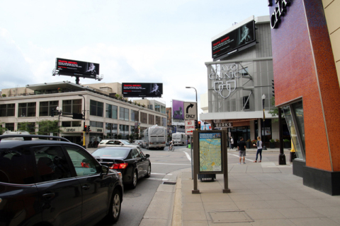 Anti-human trafficking awareness ads are live on Clear Channel Outdoor billboards in Minneapolis, including pedestrian areas like Mayo Square. (Photo: Business Wire)