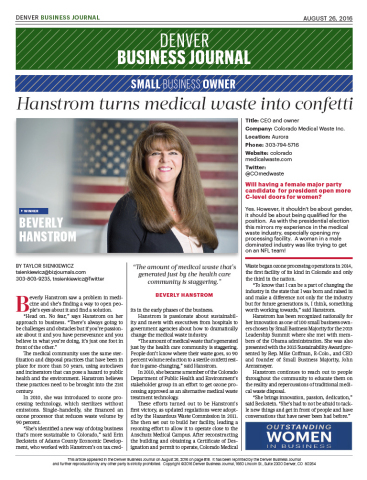 Beverly Hanstrom, CEO/owner Colorado Medical Waste named Denver Business Journal 2016 Outstanding Women in Business Winner - Small Business Category. (Photo: Denver Business Journal)