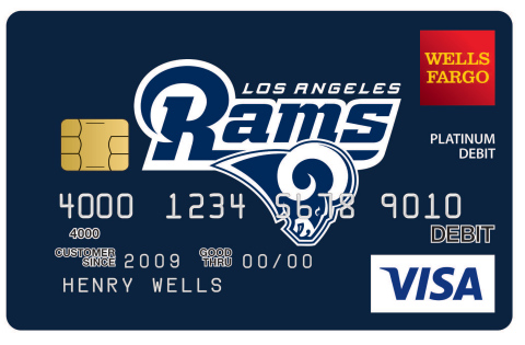 To celebrate the Rams' return to Los Angeles, Wells Fargo is offering new Los Angeles Rams debit and prepaid card designs. Customers can visit Wells Fargo's Card Design Studio® Service on wellsfargo.com and select a Rams-themed design as a way of sharing team spirit for no additional fee. (Photo: Business Wire)