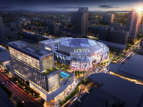 Golden 1 Center, future home of the Sacramento Kings, promises to be one of the most technologically advanced arenas in the world. It is already setting records as the world's first installation of wideband multimode fiber, a capacity-boosting network technology supplied by CommScope. (Photo: Business Wire)