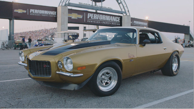 """""""Papa John"""" Schnatter raced his prized gold '71 Camaro against Don Schumacher Racing's Leah Pritchett, driver of the Papa John's dragster, on Friday, Sept. 2, 2016 at NHRA U.S. Nationals for the winner's charity of choice. Papa John's and DSR put up $10,000 each for Riley's Hospital for Children, adding $20,000 to funds already raised through pizza sales earlier in the day."""