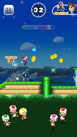 Super Mario Run has a mode in which the player collects coins and heads for the goal, and a mode in which the player competes against the acrobatic moves of other people who have completed the same course. (Photo: Business Wire)