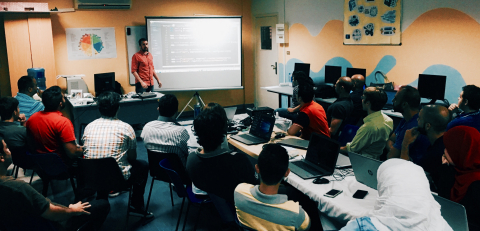 "V School's Lead Instructor, Bob Ziroll, teaches Full Stack JavaScript concepts to adult students in a ""Coding Bootcamp"" in Beirut, Lebanon at the company's first office outside the United States. (Photo: Business Wire)"