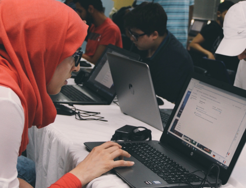"This hijab-wearing woman is one of 40 students studying Full Stack JavaScript in a ""Coding Bootcamp"" in Beirut, Lebanon produced by V School at its first campus outside the U.S. (Photo: Business Wire)"