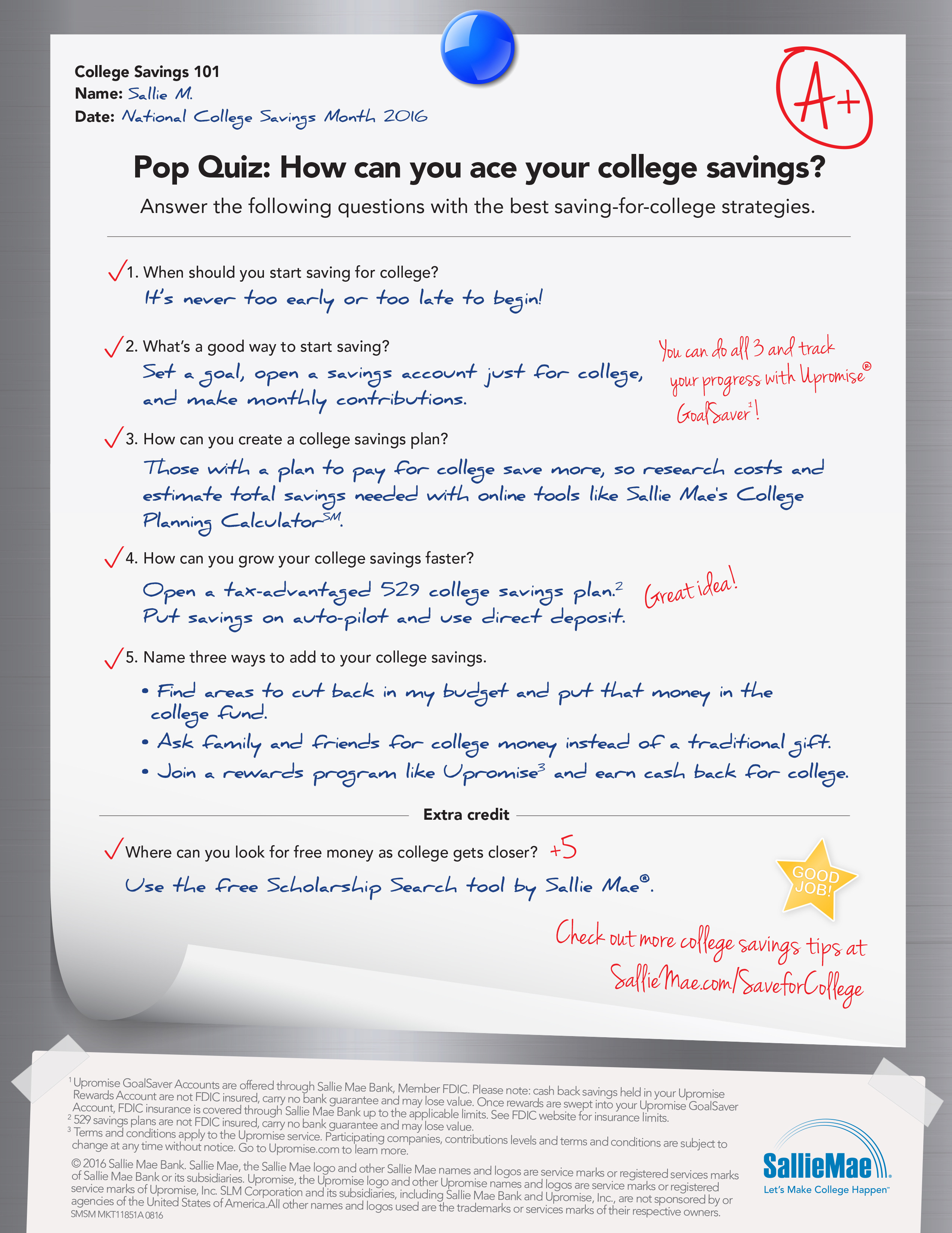 Earn An Easy A In College Savings 101 With Sallie Maes National