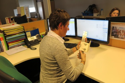 Mathilde Richy, Structural Calculation Manager, SODIMAS, testing her 3D printed fastener produced on ...