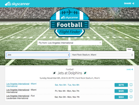The Skyscanner Football Flight Finder makes it easier than ever for fans to identify flight deals to be able to watch their favorite teams in-person. (Photo: Business Wire)
