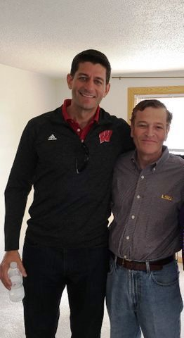 Speaker of the House Paul Ryan and Abode Properties CEO Daniel Moos enjoy the LSU Wisconsin game. (Photo: Business Wire)