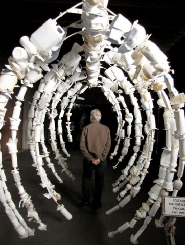 Visitors at this week's U.S. State Department 'Our Ocean Conference' in Washington, D.C. will be walking by a whale bone rib cage made from white plastic debris as a reminder of the threat that marine debris poses to oceans and its sea life. (Photo: Business Wire)