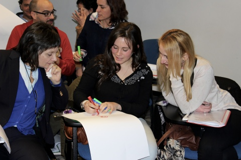 Volunteers from the Peluffo-Giguens Foundation conduct a group activity on selecting the best leader for a Relay For Life Committee at the training in Montevideo, Uruguay. (Photo: Business Wire)