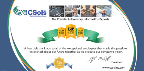 Recognizing the Employees of CSols, Inc. for this Achievement (Graphic: Business Wire)