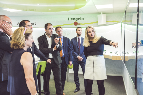 Minister of Infrastructure and the Environment, Melanie Schultz van Haegen, TomTom's co-founder Cori ...