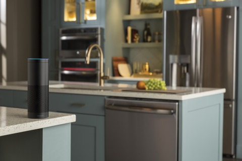"""Take charge of the day's chores using commands such as, """"Alexa, ask Geneva when the dishwasher will be finished."""" GE Appliances and Amazon Echo have teamed up for the ultimate in home convenience. (Photo: GE Appliances, a Haier company)"""