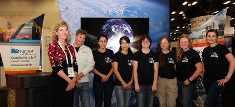 At SC15, Marla Meehl of UCAR and Jason Zuraski of ESnet (at left) and Mary Hester of ESnet (far right) flank WINS participants (from left) Sana Bellamine, CENIC, Measurement Team; Kyongseon (Kathy) West, Indiana University of Pennsylvania, Network Security Team; Amy Liebowitz, University of Michigan, Commodity Team; Debbie Fligor, University of Illinois, Routing Team; and Megan Sorensen, Idaho State University, Wireless Team. (Photo: Business Wire)