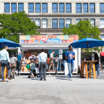 """Planted in the middle of Union Square Park in New York City, the DQ brand partnered with Mashable to attract more than 1,500 Fans to sample the new DQ Bakes!® Snacks Menu and turn Fans into """"snackable content"""" with a DQ-branded GIF booth. (Photo: Business Wire)"""