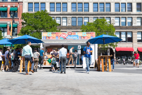 "Planted in the middle of Union Square Park in New York City, the DQ brand partnered with Mashable to attract more than 1,500 Fans to sample the new DQ Bakes!® Snacks Menu and turn Fans into ""snackable content"" with a DQ-branded GIF booth. (Photo: Business Wire)"