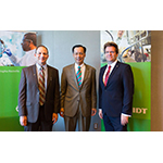"""""""IDT Biologika is a major contributor to Maryland's leadership in vaccine development,"""" said Maryland Department of Commerce Deputy Secretary Benjamin Wu, pictured here (center) with IDT Rockville Site Director Dr. Mike Jenkins (left) and IDT Rockville Site Integration Leader Dr. Thomas Richter (right). - IDT Biologika/Michael Branscom"""