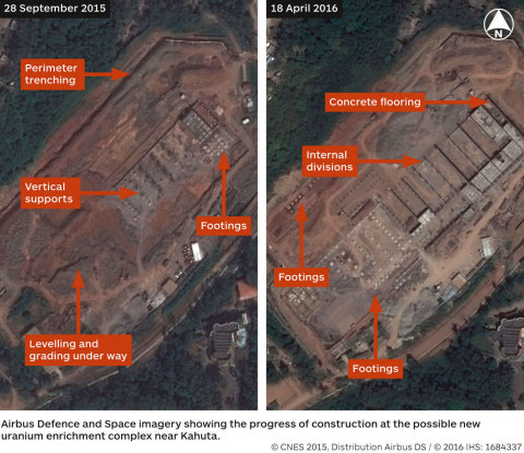 Imagery showing the progress of construction at the possible new uranium enrichment complex near Kahuta, analysed by IHS Jane's (Graphic: Business Wire)