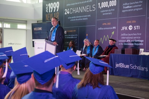 JetBlue's Chief Executive Officer and President, Robin Hayes congratulates the first graduates of Je ...