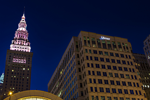 The addition of Ulmer & Berne's new logo to the firm's Skylight Office Tower headquarters in downtown Cleveland makes the firm a prominent fixture on the city's skyline. (Photo: Business Wire)