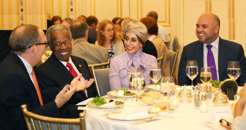 Ameera Binkaram with Majed Al Sewidi and Sir George Alleyne (Photo: Business Wire)