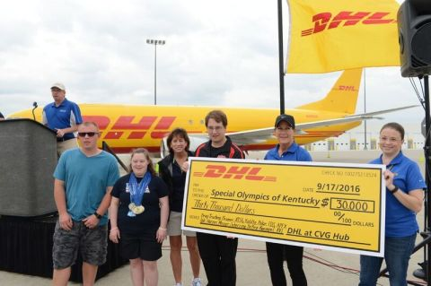DHL presents a check for $68,000 to Special Olympics Kentucky and its programs for local athletes on ...