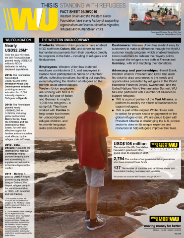 Fact Sheet: Western Union and the Western Union Foundation, Standing With Refugees (September 20, 20 ...