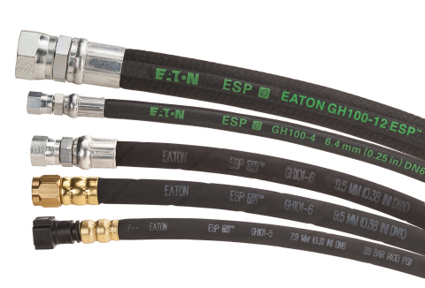 Eaton's new GH100 and GH101 Biodiesel hoses offer flexible fabric or rubber covering options. (Photo: Business Wire)